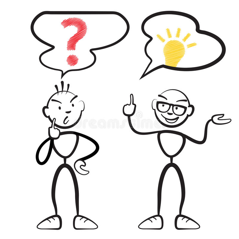 Stick figure questionnaire and idea persona stock illustration