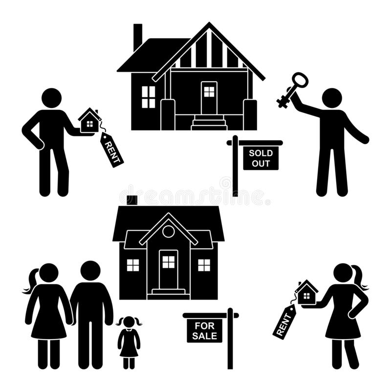 Stick figure rent, sell, buy, move black and white vector icon pictogram. Young family gets a new house silhouette vector illustration