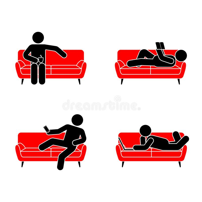 Stick figure resting position set on red sofa. Sitting, lying, reading book, watching phone, drinking tea, using laptop vector. royalty free illustration
