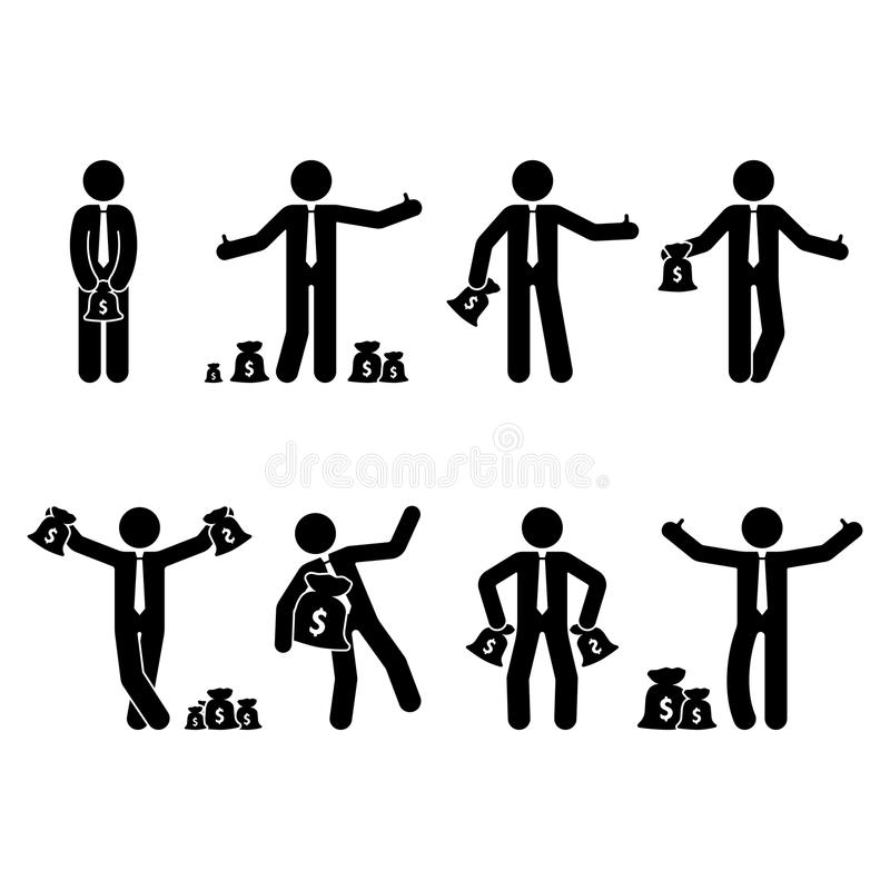 Stick figure rich businessman set. Vector illustration of happy person holding money bag on white. vector illustration