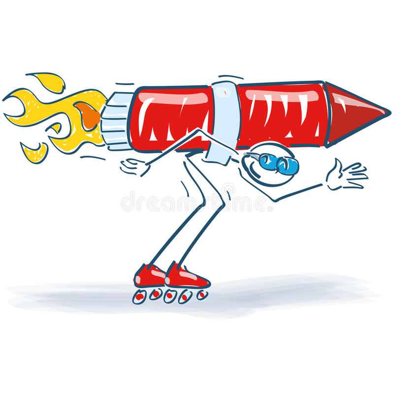 Stick figure with a rocket and roller skates. Stick figure with a rocket on his back and roller skates stock illustration
