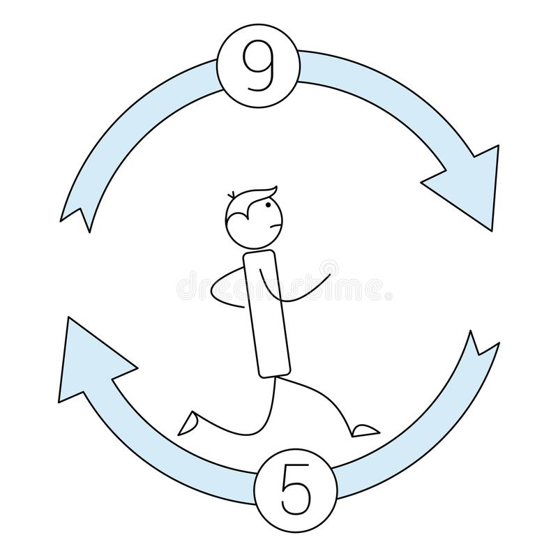Stick figure running in a 9 to 5 cycle stock illustration