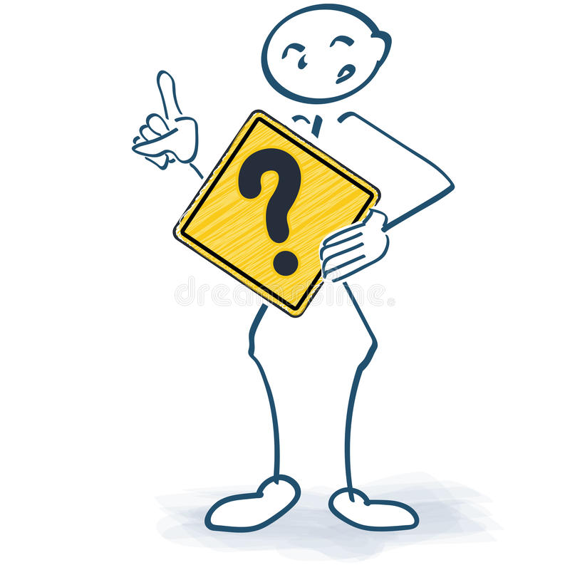 Stick figure with a sign with a question mark in front stock illustration