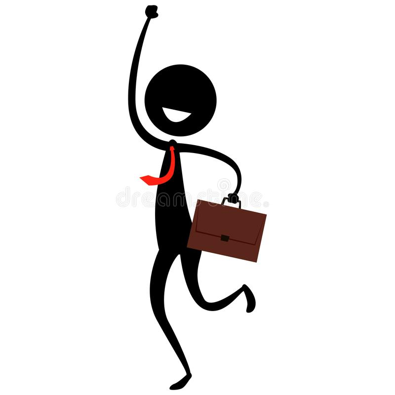 Stick Figure Silhouette on a Happy Man holding a suitcase stock illustration