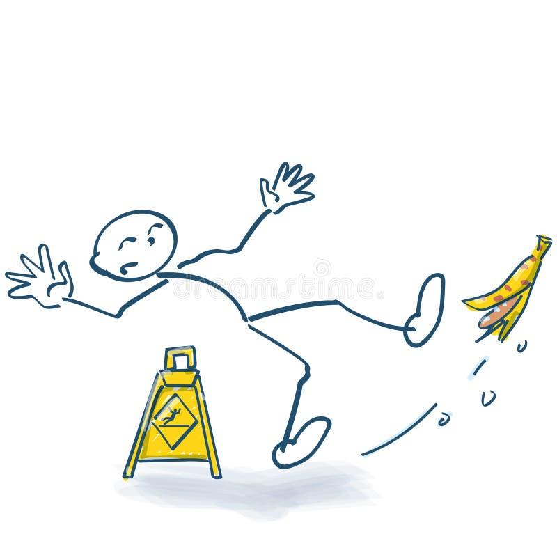 Stick figure slips out on a banana. Stick figure slips out on a yellow banana stock illustration