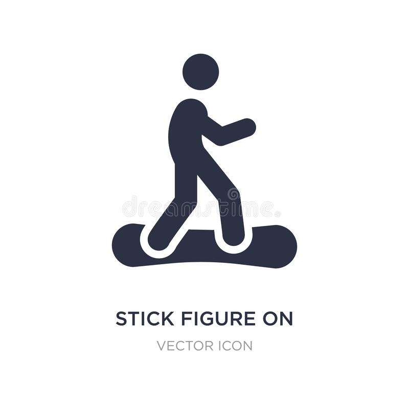 Stick figure on snowboard icon on white background. Simple element illustration from Sports concept. Stick figure on snowboard sign icon symbol design stock illustration