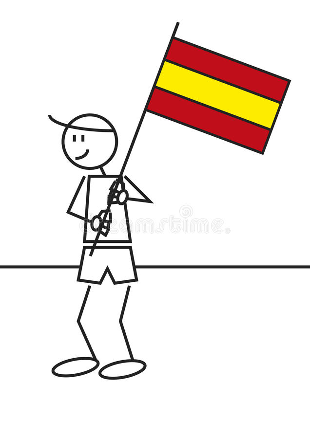 Download Stick figure Spain flag stock vector. Illustration of character - 33194856