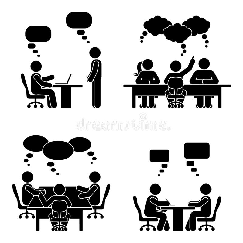 Stick figure speech bubble meeting set. Group of people talking in conference room. royalty free illustration