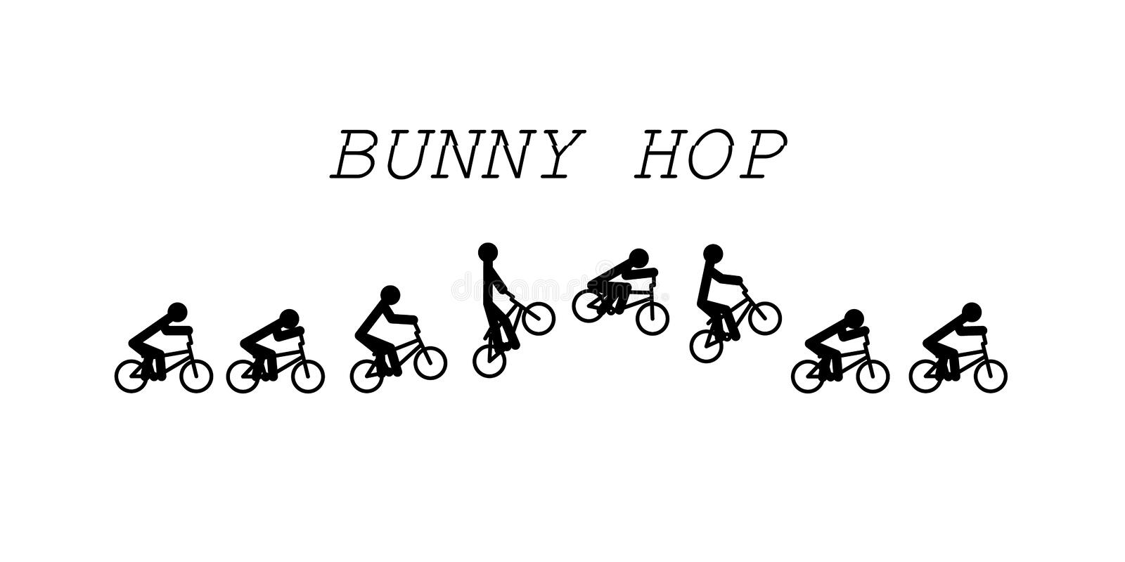 Bunny hop bmx. Stick figure vector bunny hop bmx royalty free illustration