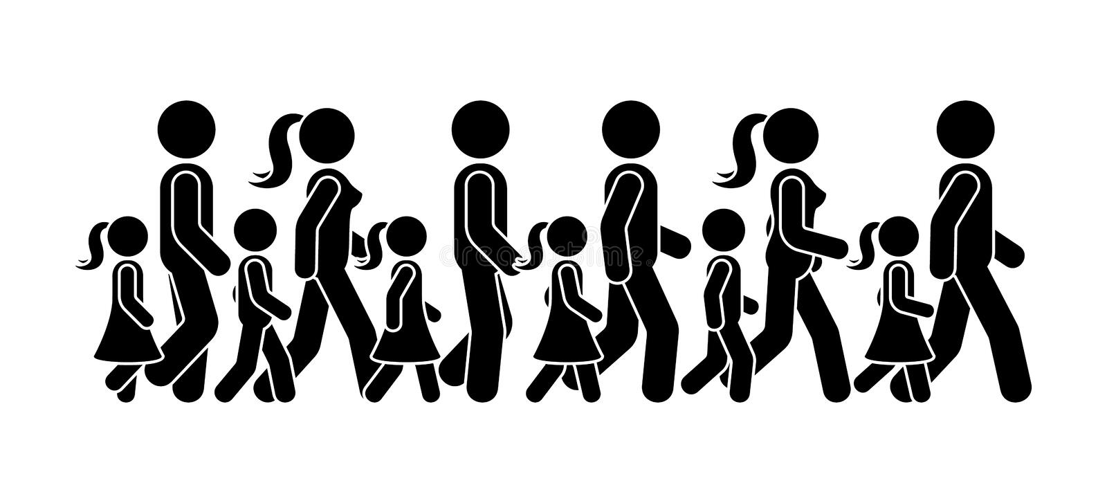 Stick figure walking group of people vector icon pictogram. Man, woman and children moving forward sequence set. Stick figure walking group of people vector vector illustration