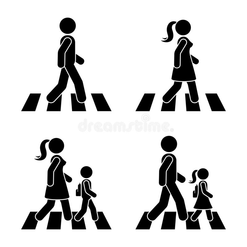 Stick figure walking pedestrian vector icon pictogram. Man, woman and children crossing road set. stock illustration