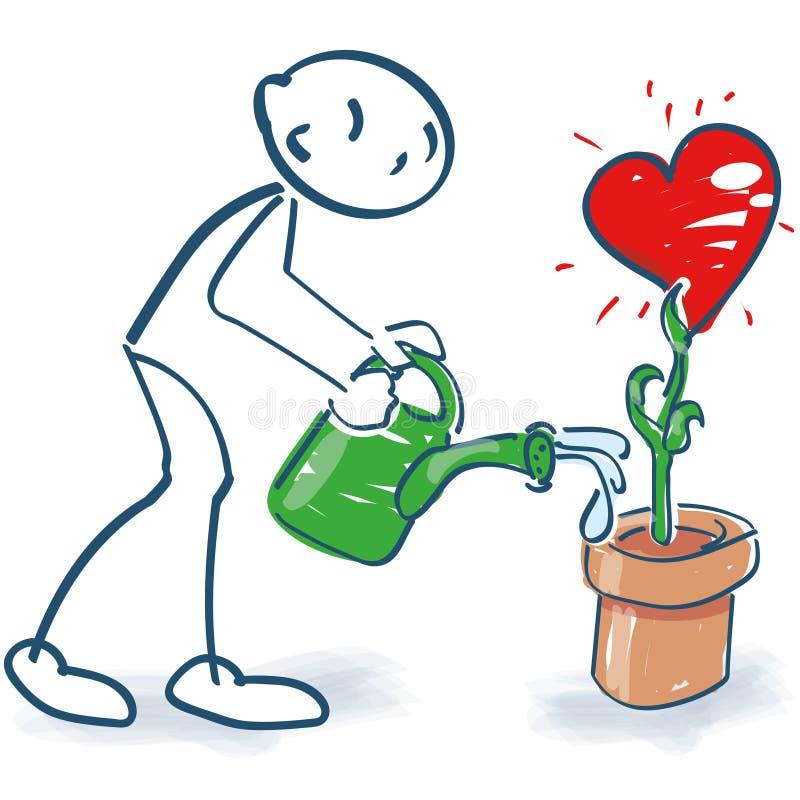 Stick figure waters a heart in a flowerpot royalty free illustration