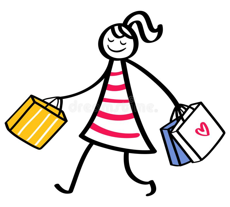Stick figure woman wearing striped dress going shopping holding bags vector illustration