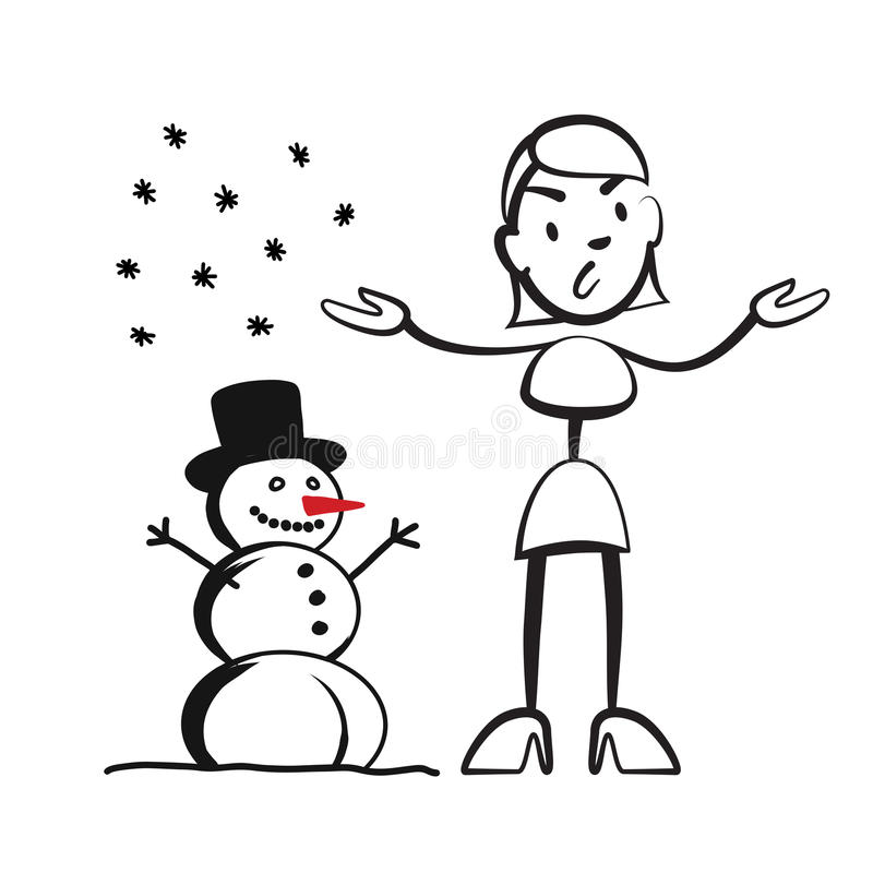 Stick figure woman in winter - what to wear? stock illustration