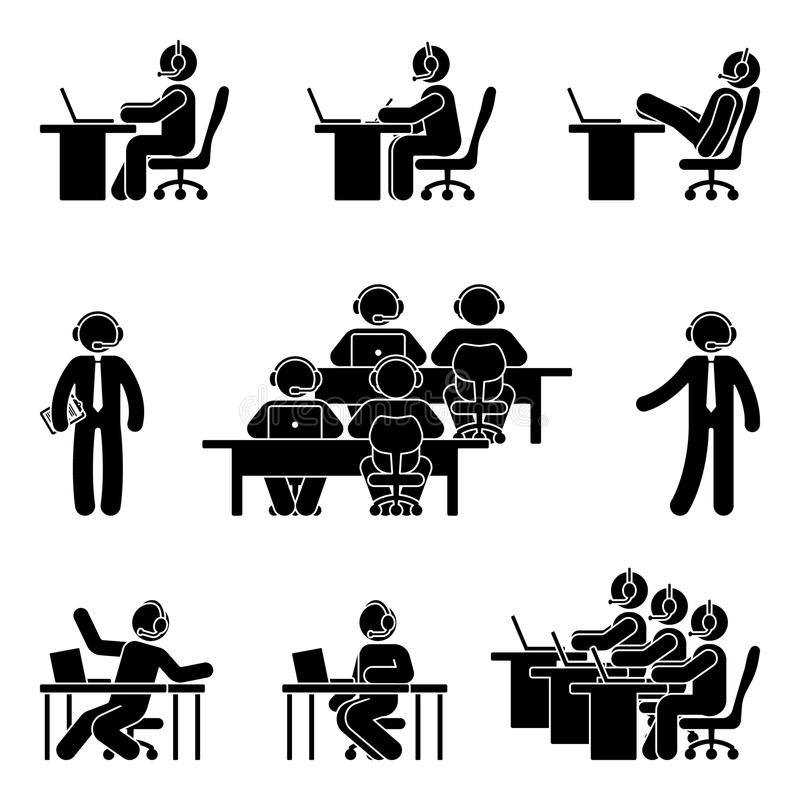Stick figure working man using computer in call center. Vector illustration of customer support icon set on white vector illustration