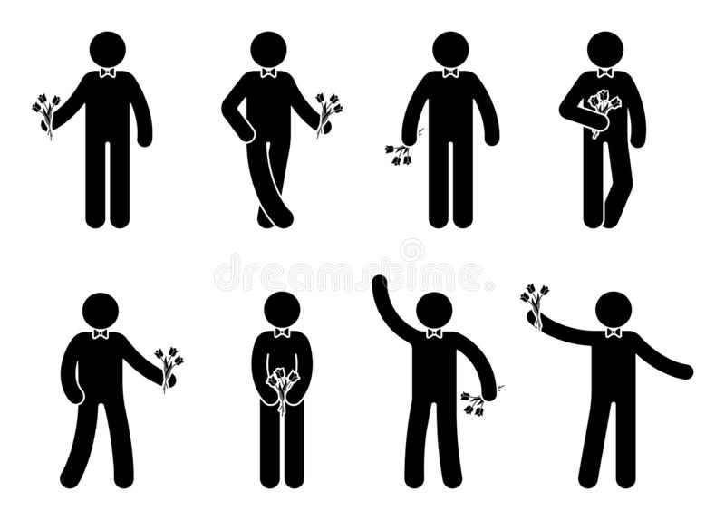 Stick figure young man with flowers icon set. Male standing with bouquet on white. stock illustration