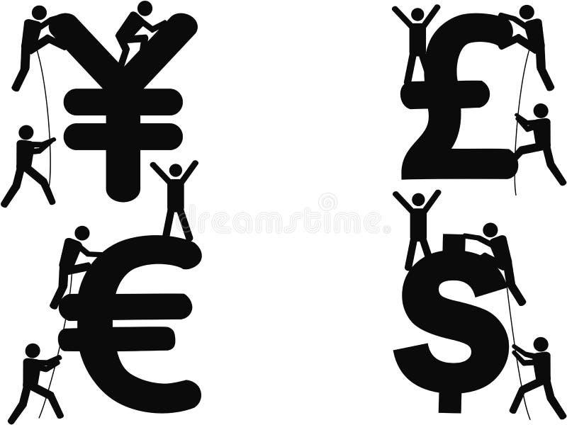 Stick figures Climbing Money sign vector illustration