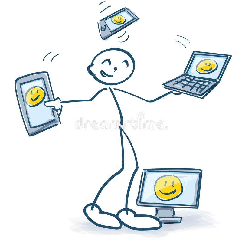 Stick figures with computers with different screen sizes. Stick figures with social media and computers with different screen sizes vector illustration