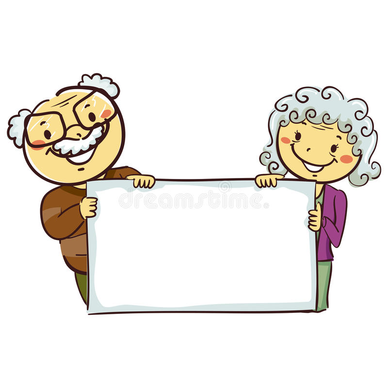 Stick Figures of Grandparents Holding a Blank Board. Vector Illustration of Stick Figures of Grandparents Holding a Blank Board vector illustration