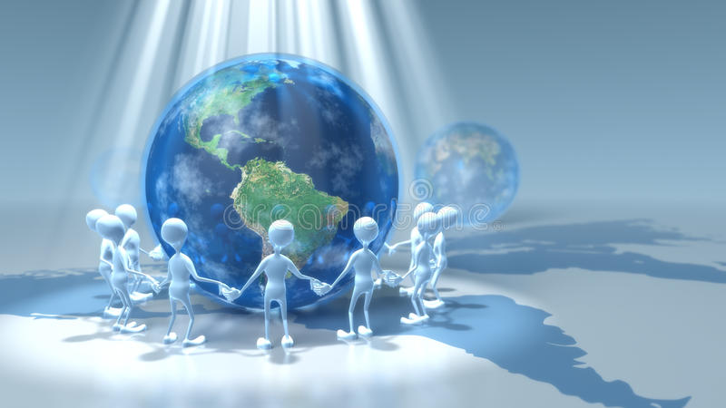 Download Stick Figures Holding Hands Around Earth Royalty Free Stock Images - Image: 9762599