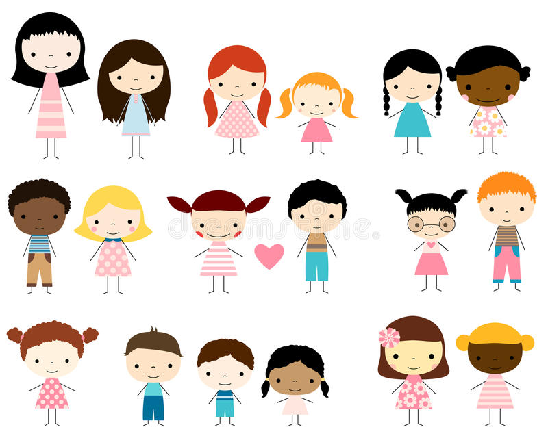 Stick figures kids - boys and girls. Cute group of stick figures children - boys and girls stock illustration