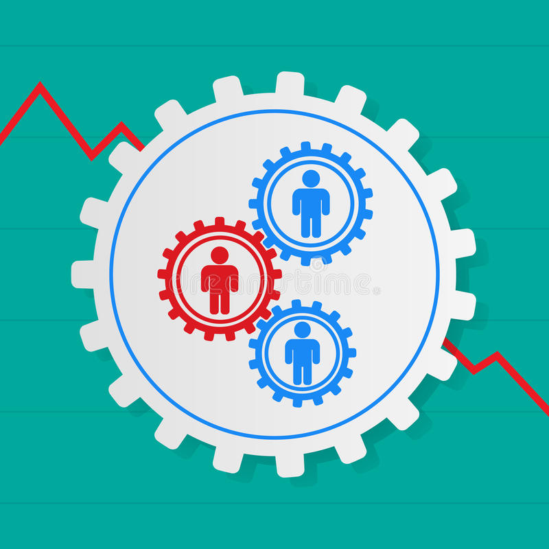 Stick figures of people in the gears , one red . The interaction. Between the employees . The problem employee . Fall growth of the company, firm vector illustration