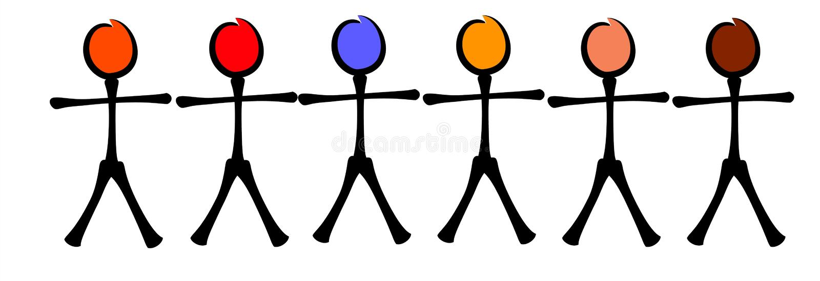 Stick Figures Racial Equality vector illustration