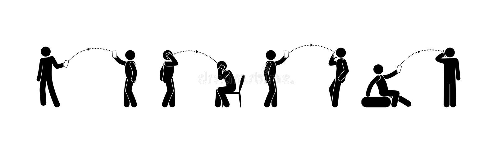 Stick figures a set of human with a cellphone. Man using phone or smartphone in different position and postures vector illustration
