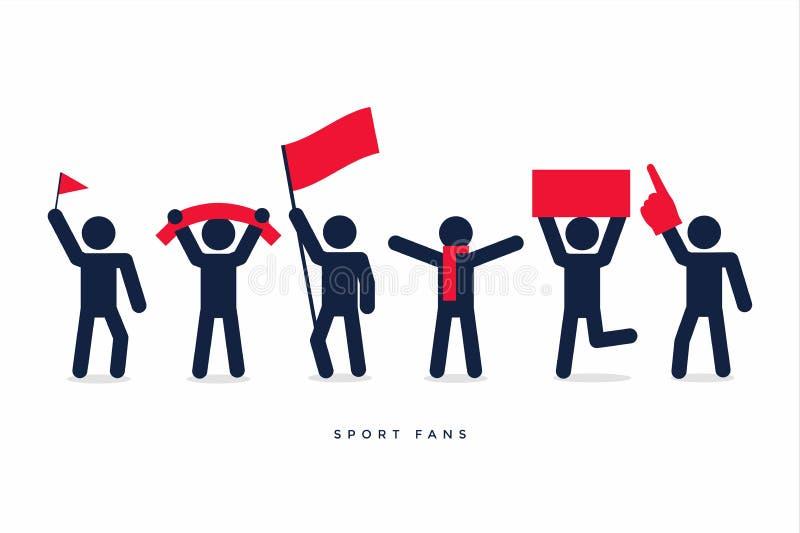 Stick figures of sport fans cheering team. stock illustration