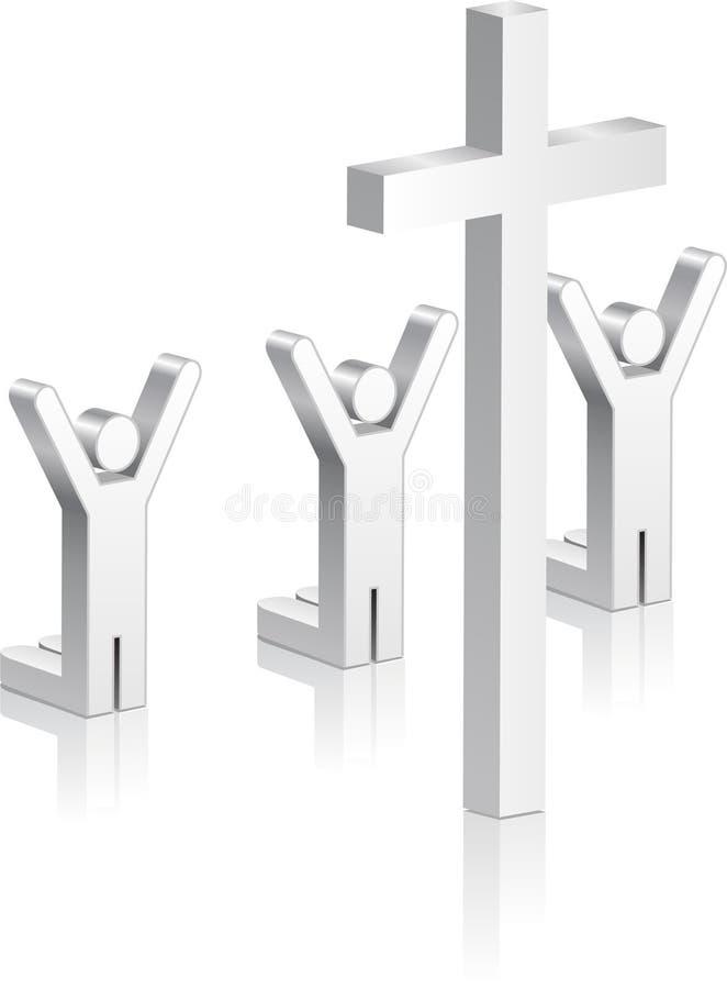 Stick Figures Worshipping Religious Cross