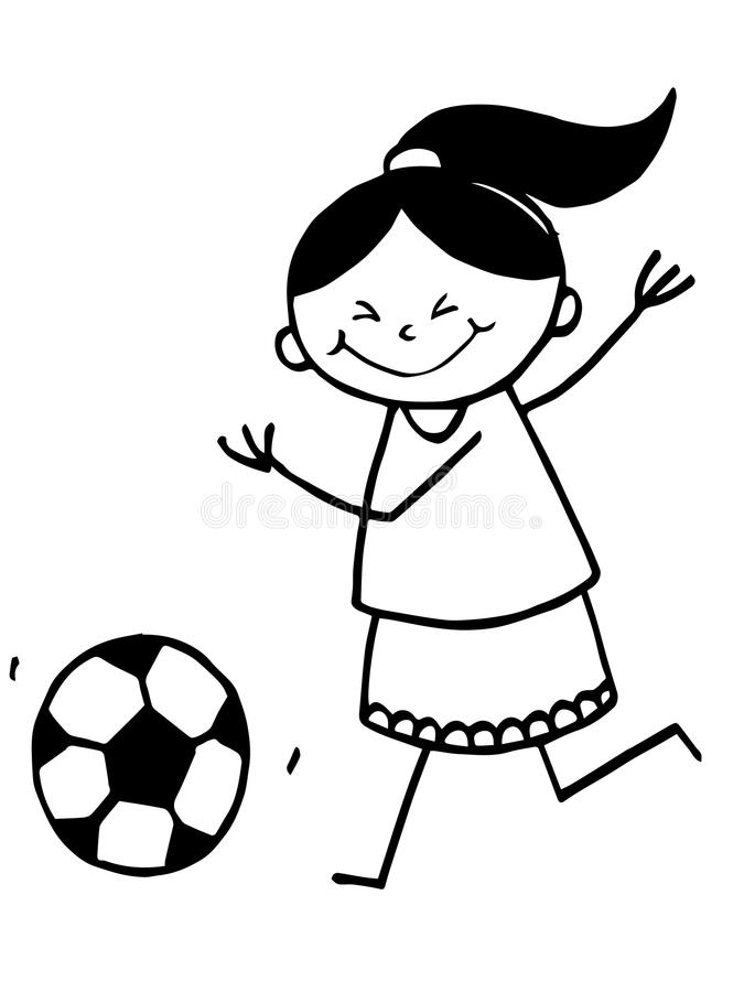 Stick Girl playing football stock images