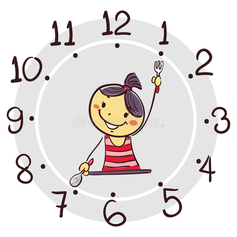 Free Stick Girl Using His Arm As Clock Hand Pointing 7 O`clock For Breakfast Stock Photo - 85764550