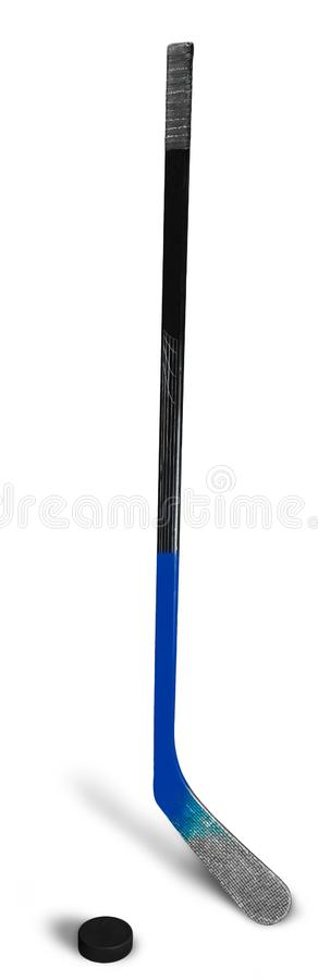 Ice Hockey Stick and Puck, Isolated on Transparent. Stick hockey puck close up game sport leisure royalty free stock photography