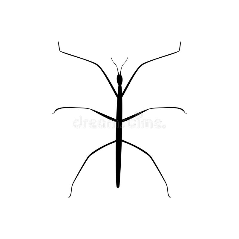 Stick insect black silhouette animal vector illustration