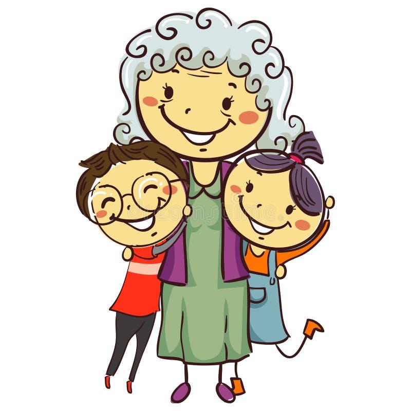 Stick Kids with Grandma royalty free illustration