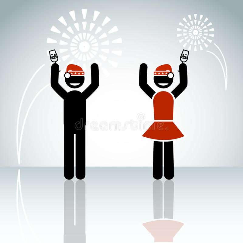 Stick man couple celebrate new year on the winter background wit. H firework. Vector christmas illustration royalty free illustration