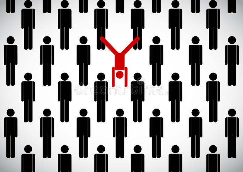 Stick man crowd and yogi. Vector stick man crowd and yogi in inverted pose on hands stock illustration