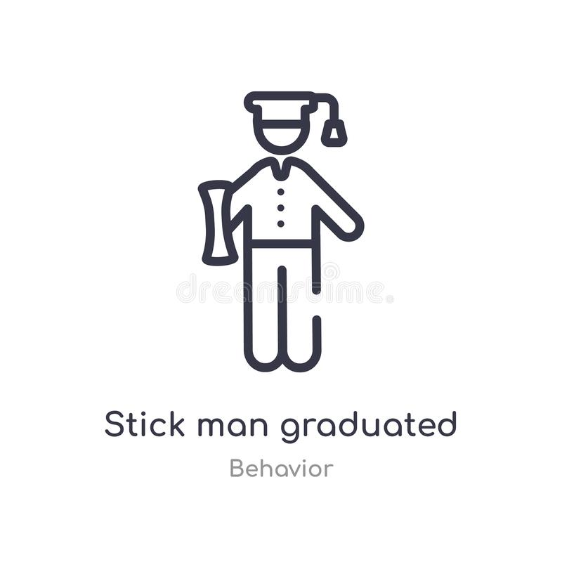 Stick man graduated outline icon. isolated line vector illustration from behavior collection. editable thin stroke stick man. Graduated icon on white background royalty free illustration