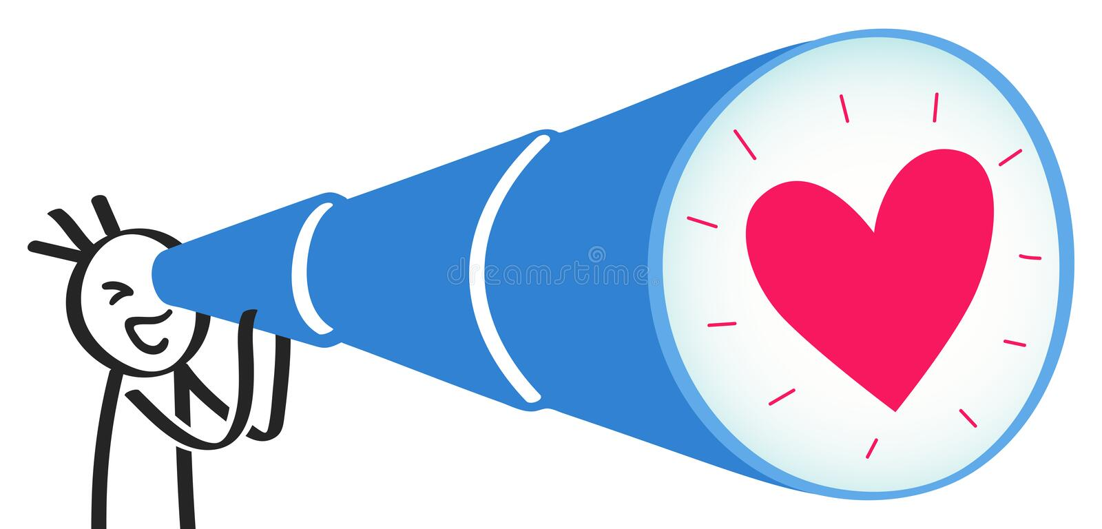 Stick man looking at heart through giant telescope, smiling stick figure holding blue spyglass, looking for love. Isolated on white background stock illustration