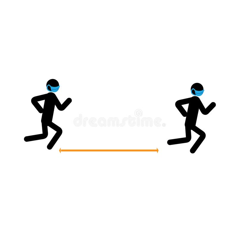 Free Stick Man Running In A Medical Mask. Social Distance In Sporting Activities. Royalty Free Stock Images - 181718339