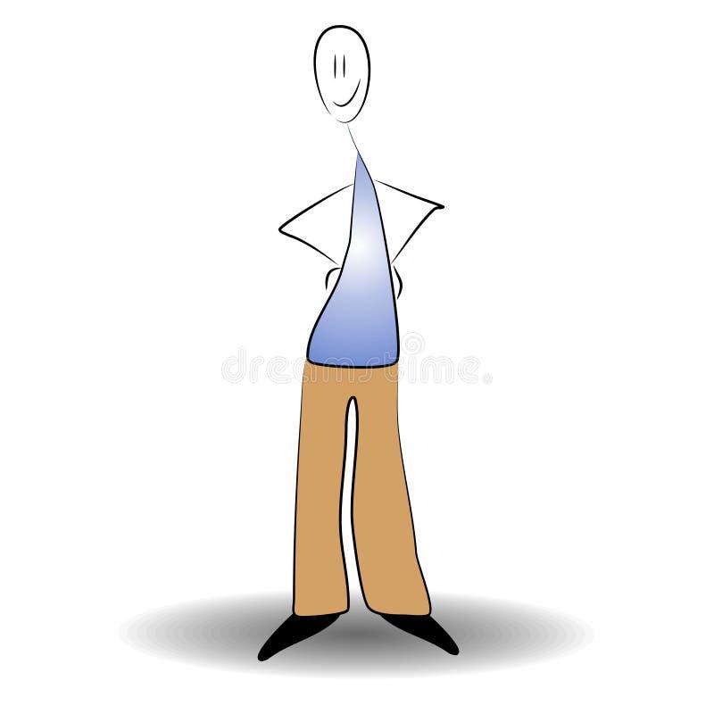 Stick Man Standing Smiling stock illustration