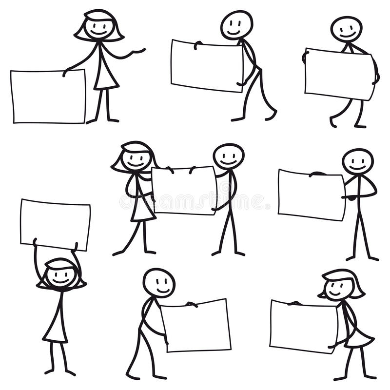 Free Stick Man Stick Figure Holding Blank Sign Royalty Free Stock Photography - 38950947