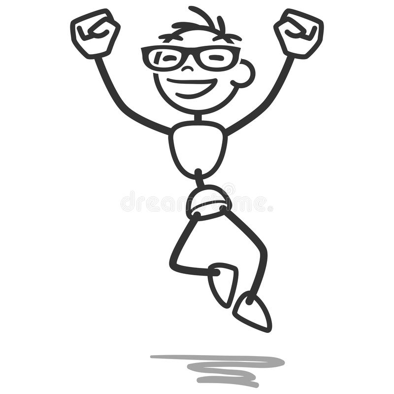 Stick man stick figure jumping happy successful royalty free illustration