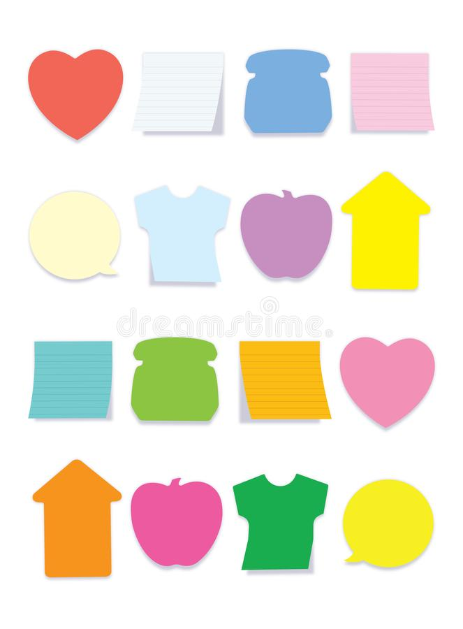 A Colorful sticky notes for you. A Stick notes in different shape and colors for office and school use. so trendy and lovable one in pale color stock illustration