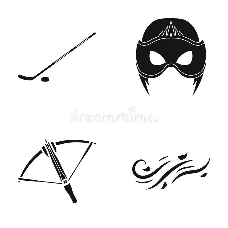 Stick with washer, mask and other web icon in black style. crossbow, wind direction icons in set collection. vector illustration