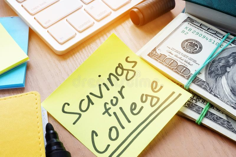 Stick with word Saving for College. royalty free stock image
