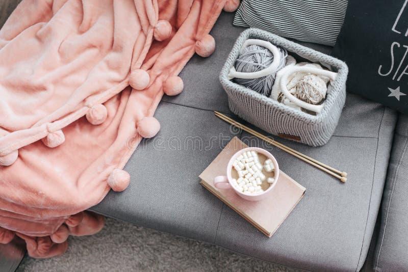 Sticka, bok, kakao och filt på soffan royaltyfri fotografi