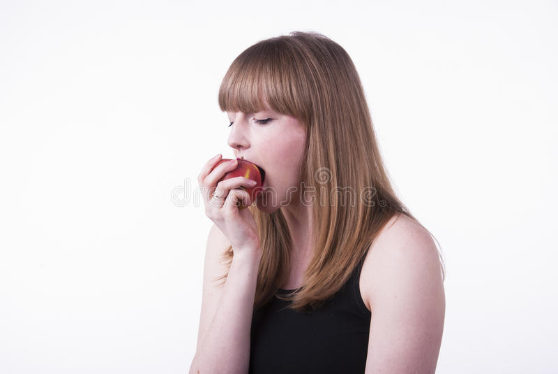 sticka kvinna för äpple arkivbilder