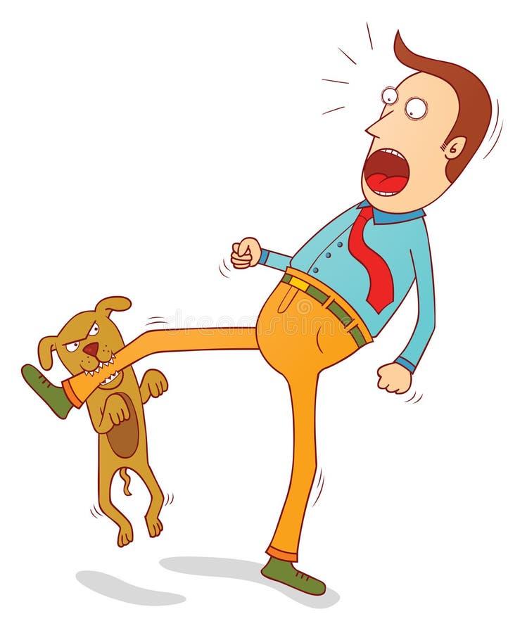 Stickande fot för stygg hund vektor illustrationer