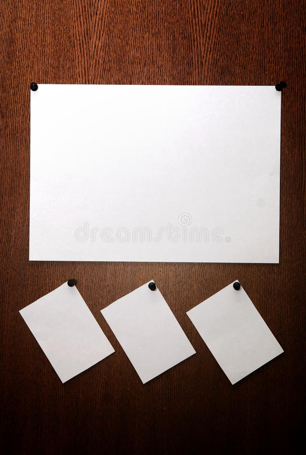 Sticker. 4 white stickers on wood royalty free stock images